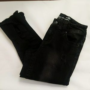 Seven7 black ankle skinny distressed jeans, sz 8